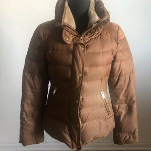 Zara Quilted Puffer Jacket with Faux Fur Collar